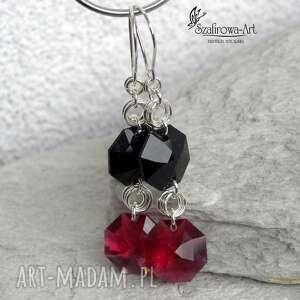 malinowa czerń - kolczyki, eleganckie, wiszące, błyszczące, swarovski