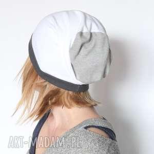 czapka unisex biało szara dzianina dresowa, dzianina, bawełna