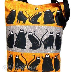 Torba na napę z kotami - torba, koty, pojemna, pakowna