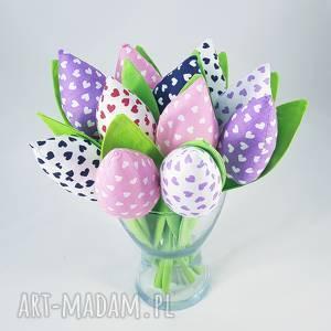 bukiet tulipanów handmade, prezent, tulipany, kwiaty, bukiet, serca dekoracje