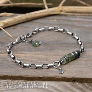 szkło antyczne zielone i masywny łańcuszek, antyczne, afgańskie, srebro