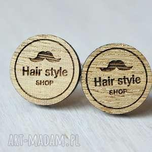 Dębowe drewniane spinki do mankietów BARBER SHOP, drewniane, spinki, barber, hair