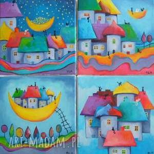 obrazy na płótnie - bajkowe miasteczka 4 x 20/20 cm, bajka, kolor, akryl