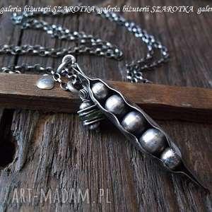 GROSZKOWY naszyjnik z peridotu i srebra, oliwin, peridot, srebro, oksydowane