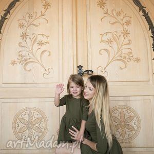 komplet sukienek olivia 3 kolory, bordo, khaki, dzianina, eko, mama i córka