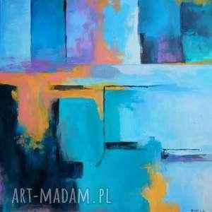 Obraz na płótnie - ABSTRAKCJA 50/50 cm, abstrakcja, niebieski, obraz, zieleń