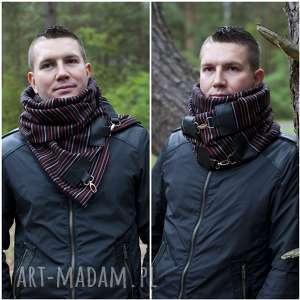 szaliki szal wełniany ze skórą - szalik męski, elegancki szalik, czerwony prążek