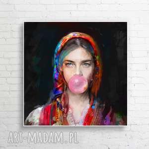 obraz na płótnie lady folk 3 80x80 cm, obraz, dekoracje, plakat, kobieta, dom