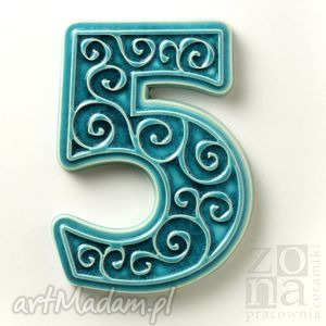 pracowniazona cyfra 5 na dom, turkusowa, cyfra, numer, drzwi, elewacja