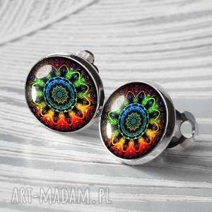 klasyczne klipsy okrągłe :: kolorowa mandala, mandale, kolorowe, klasyka, wygodne