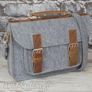 filcowa torba na laptopa 13 z przegrodą - filc, skóra, wyjątkowa, hit, torba
