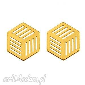 złote kolczyki sześciany, modne, kobiece, srebro, blogerskie, minimalistyczne
