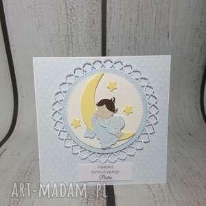 Zaproszenie / kartka Aniele Boży w błękicie, chrzest, modlitwa, anioł, księżyc