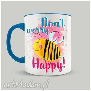kubek dont worry bee happy - prezent, przyjaciółka, przyjaciel, ceramika