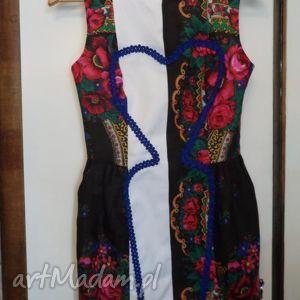 sukienki folk design - sukienka czarna chusta, folk, design, sukienka, góralska