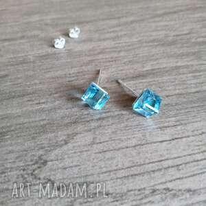 kostki kolczyki srebrne aquamarine swarovskiego