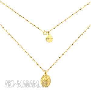 Złoty naszyjnik z medalikiem naszyjniki sotho naszyjnik, medalik