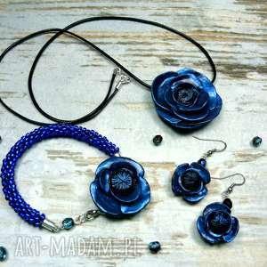 komplet biżuterii granatowe maki, kwiaty, biżuteria-kwiatowa, komplet-biżuterii