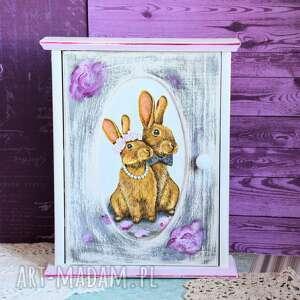 szafka na klucze - zakochane króliczki, szafka, klucze, królik, ślub, rocznica