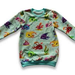 handmade rybki miętowa długa bluza dla dziewczynki, tunika z rybkami, rozmiary