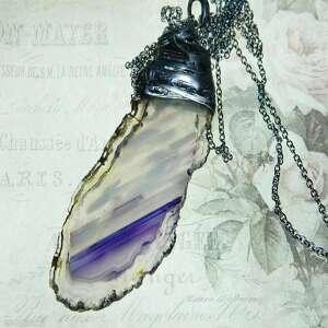 wisiorki wisior z przeźroczystym fioletowym agatem, agat, oryginalny