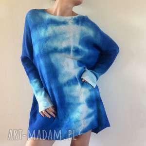 hand-made swetry unikatowy ręcznie barwiony wełniany sweter