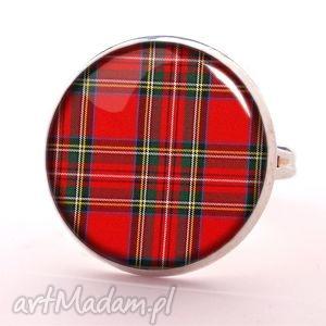 ręcznie zrobione pierścionki szkocka krata - pierścionek regulowany