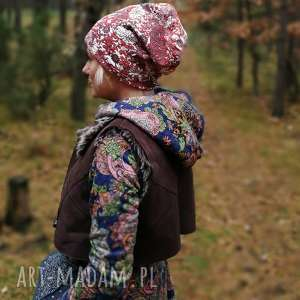 czapka dzianina miękka kwiaty sportowa włoska , dzianina, kwiaty, czapka, turban