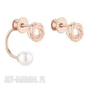 sotho asymetryczne kolczyki węzełki z różowego złota