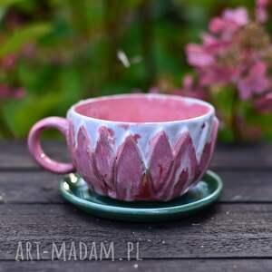 ręcznie wykonane ceramika filiżanka do herbaty| różowa kawy | kamionka lotos 250