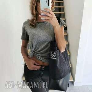 duża torba shopper na ramię - eko zamsz skóra, shopper, eco skóra
