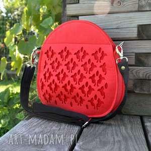 na ramię jojo - mini kuferek pasku czerwony, ażurowa, filcowa, folkowa
