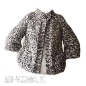 Żakiet- sweter handmade ze stójką, żakiet, sweter, stójka, narzutka