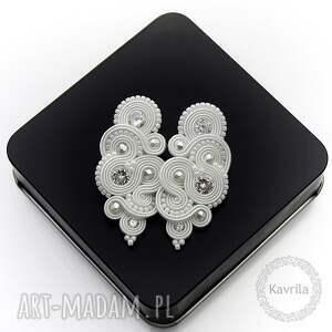 kolczyki ślubne mirino crystal soutache, cyrkonie, ślub, śnieżka, stylowe, unikatowe