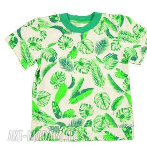 liście bawełniany t-shirt dla dziewczynki, chłopca, 68-122, t shirt