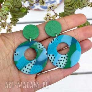 kolorowe wiszące kolczyki koła, kolczyki, niebieskie