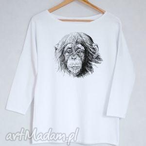 SZYMPANS bluzka bawełniana oversize S/M biała, bluzka, koszulka, szympans, małpka
