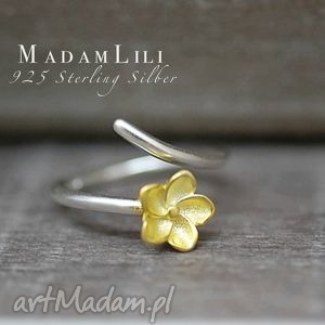 Prezent 925 srebrny pierścionek KWIAT , pierścionek, kwiat, berlin, biżuteria
