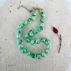 Sznur zielonych pereł naszyjnik naszyjniki galeria nuit z-pereł