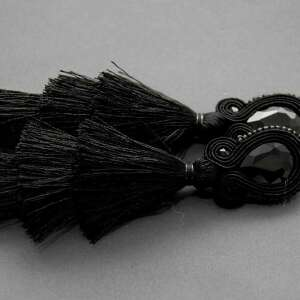 kolczyki sutasz z potrójnym chwostem, sznurek, eleganckie, wiszące, wieczorowe