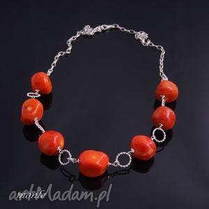 Koral Pomarańcza, naszyjnik - ,naszyjnik,srebro,koral,biżuteria,