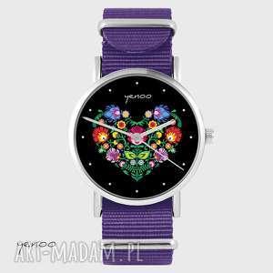Prezent Zegarek - Serce folkowe, czarne fioletowy, nato, zegarek, nylonowy