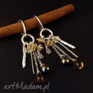 Piryt, perły i krople miodu, kolczyki, cytryn, srebro