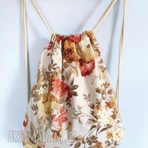 Plecak worek vintge kwiaty zapetlona nitka plecak, worek