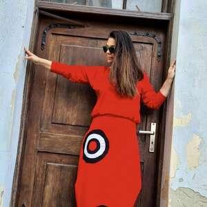 sukienki czerwona sukienka z mandalą, maxi, boho, na codzień, etno, asymetryczna