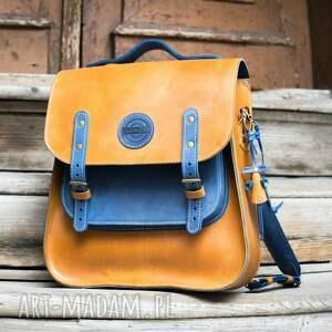 hand made duży skórzany plecak z wygodnym paskiem na ukos, torebka a ramię w kolorach