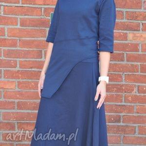 Classic blue-komplet sukienki ququ design bluzka, spódnica