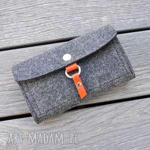 Filcowy portfel - grafit z miodową skórką, portfel, kobiecy, filc,
