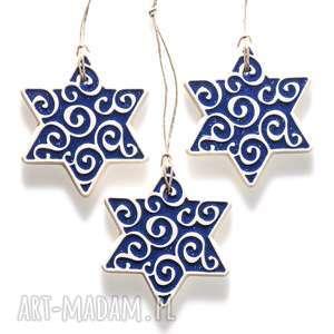 świąteczny prezent gwiazdki niebieskie do zawieszenia, zawieszki,