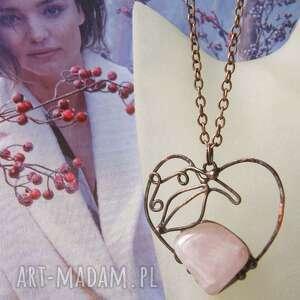 handmade wisiorki łańcuszek z wisiorkiem na walentynki: serce duzy kwarc